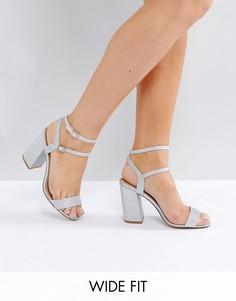 Босоножки на блочном каблуке для широкой стопы New Look - Серебряный