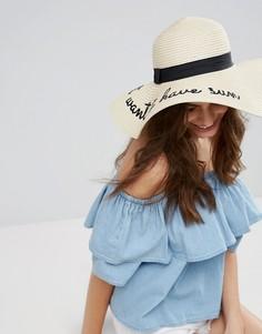 Соломенная шляпа с надписью Girls Just Want To Have Sun ALDO - Бежевый