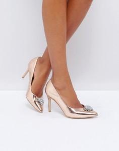 Декорированные туфли на каблуке с острым носком New Look - Золотой
