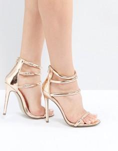 Босоножки на каблуке цвета розового золота с четырьмя ремешками Missguided - Медный