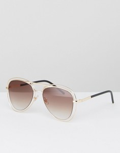Золотистые солнцезащитные очки‑авиаторы Jeepers Peepers - Золотой