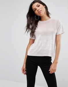 Бархатная футболка ASOS - Серый