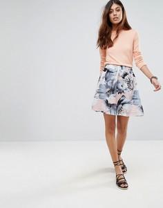 Короткая расклешенная юбка с цветочным принтом Selected Citta - Мульти