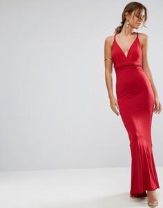 Платье макси с глубоким вырезом и плетеными бретелями ASOS - Красный