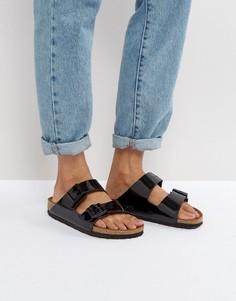 Черные лакированные сандалии Birkenstock Arizona Birko - Черный