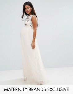 Платье макси с цветочной вышивкой и юбкой из тюля Little Mistress Maternity - Розовый