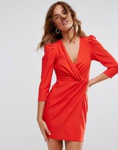 Платье мини с запахом спереди ASOS - Красный