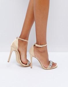 Босоножки на каблуке с отделкой New Look - Золотой