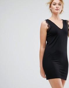 Платье-майка мини с кружевом ASOS - Черный