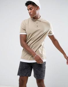 Длинная футболка-поло со вставкой по низу и контрастными манжетами ASOS - Бежевый