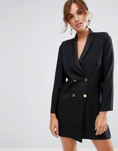 Платье с лацканами и золотистыми пуговицами ASOS - Черный
