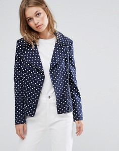 Байкерская куртка в горошек Helene Berman - Темно-синий