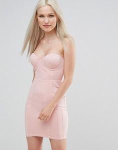 Платье-бандо из искусственной замши AX Paris - Розовый