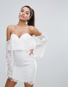 Кружевное платье-футляр с открытыми плечами Love Triangle - Белый