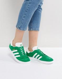 Зеленые замшевые кроссовки Adidas Originals Gazelle - Зеленый
