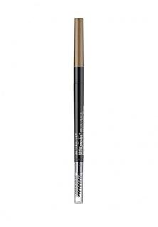 "Карандаш для бровей Maybelline New York для бровей ""Brow Precise Micro Pencil"", карандаш + щеточка, оттенок 3 Коричневый"