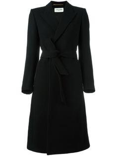 пальто с поясом  Saint Laurent