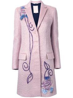 декорированное однобортное пальто  Roksanda