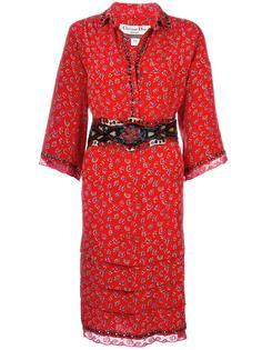платье с оборками и цветочным принтом Christian Dior Vintage