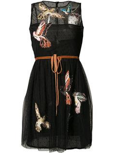 полупрозрачное платье с нашивками-птицами Red Valentino