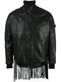 кожаная куртка бомбер с бахромой Julius