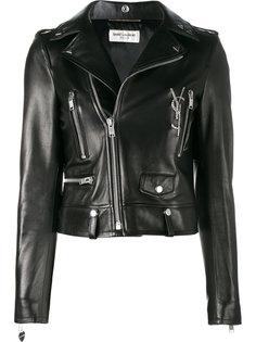 байкерская куртка с логотипом Saint Laurent