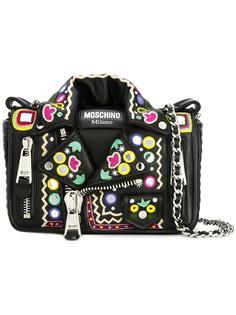 байкерская сумка на плечо с вышивкой Moschino