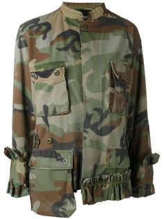 куртка с камуфляжным принтом и оборкой  Erika Cavallini