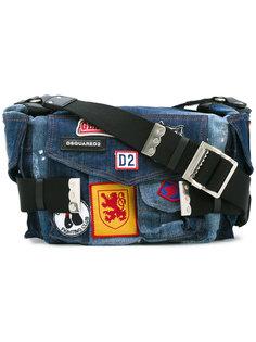 джинсовая сумка Postman с нашивками Dsquared2