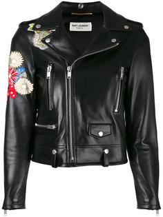кожаная куртка с вышивкой Saint Laurent