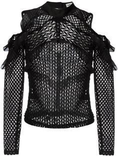 блузка с открытыми плечами и оборками Self-Portrait
