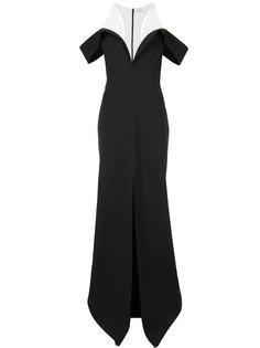 двухцветное длинное платье со шлицей спереди Mugler