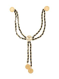брошь-цепочка с логотипом Chanel Vintage