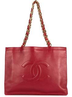 сумка-шоппер с тиснёным логотипом СС Chanel Vintage