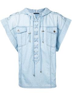 джинсовая футболка со шнуровкой Balmain