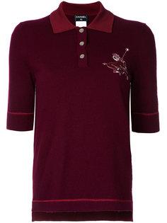 рубашка-поло с логотипом на пуговицах Chanel Vintage