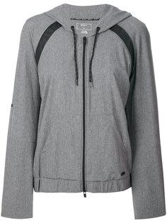 mesh inset zipped hoodie DKNY
