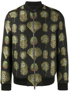 куртка-бомбер с рисунком из павлиньих перьев Alexander McQueen