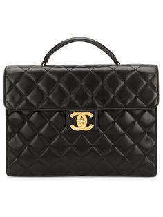 стеганый портфель с логотипом  Chanel Vintage
