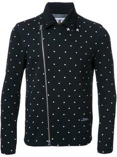 байкерская куртка в горох с принтом на спине Education From Youngmachines