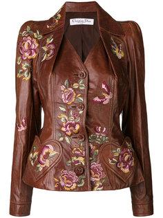 кожаная куртка с вышивкой Christian Dior Vintage