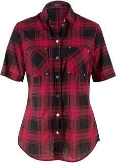 Клетчатая блузка с коротким рукавом (красный/черный в клетку) Bonprix