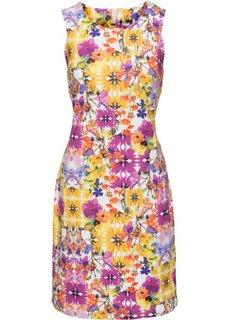 Цветочное платье (белый/желтый/розовый в цветочек) Bonprix