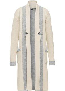 Вязаное пальто (бежевый/серый меланж) Bonprix