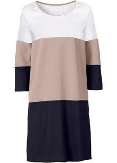 Трикотажное платье (черный/светло-коричневый/белый) Bonprix