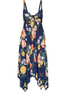Трикотажное платье с асимметричной юбкой − классика гардероба (темно-синий в цветочек) Bonprix