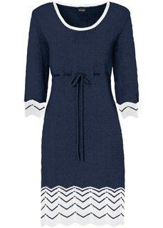 Трикотажное платье (темно-синий/кремовый) Bonprix
