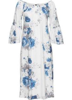 Длинное трикотажное платье (кремовый/синий с рисунком) Bonprix