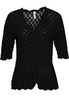Плетеная жилетка (черный) Bonprix