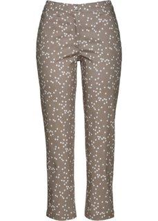 Стрейтчевые брюки длины 7/8 со звездным принтом (серо-коричневый/белый с рисунком) Bonprix